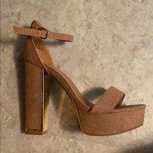 Tan with gold buckle high heel- never worn